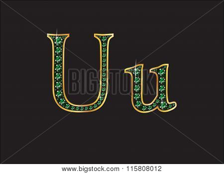 Uu In Emerald Jeweled Font With Gold Channels