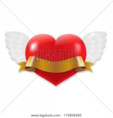 Heart With Wings And Ribbon With Gradient Mesh, Vector Illustration