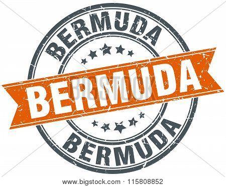 Bermuda red round grunge vintage ribbon stamp