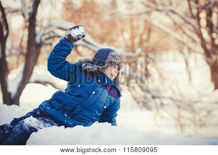 Little Boy Plays Winter Park