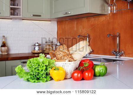 kitchen design light fresh vegetables, bread basket, lettuce, peppers, tomatoes, shopping, cooking t