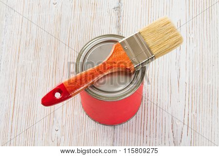 Paint Can Brush, Red Lacquer White Wood Floor Plank