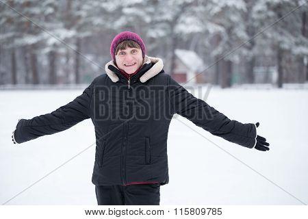 Happy Woman Saunters In Winter Park.