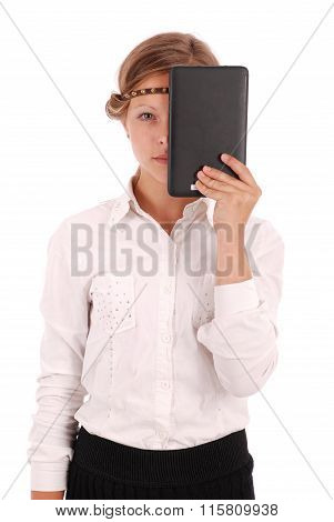 Girl Closes Half Tablet Pc Face