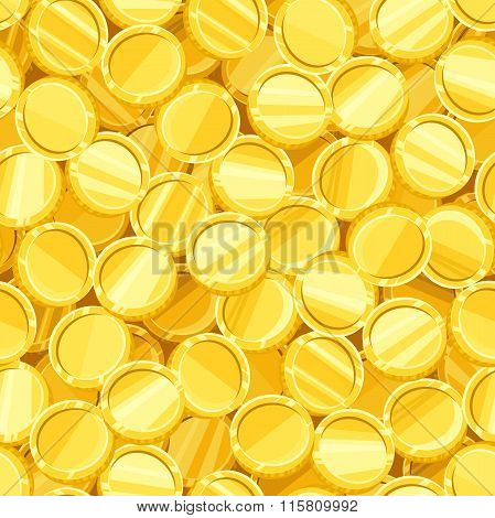 Vector seamless background with golden coins.