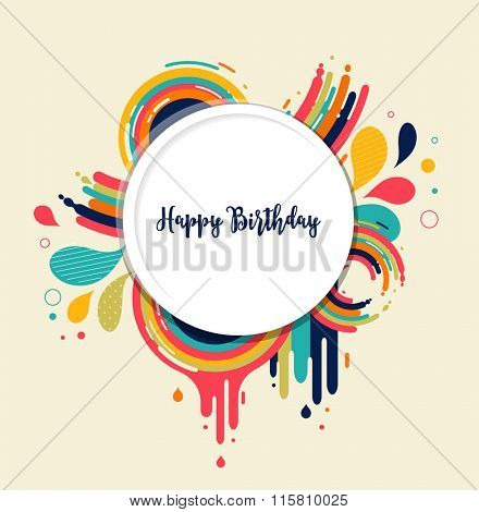 Happy Birthday card with color splashes