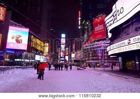 Times square new york in snow blizzard