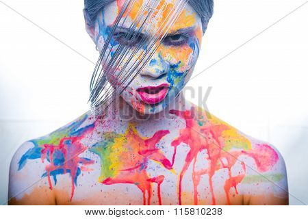 Woman With Painted Face, Body Art