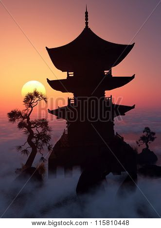 Chinese house at sunset.