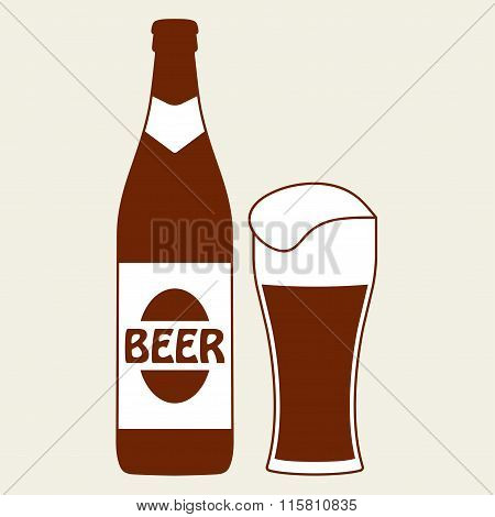Beer bottle with glass (mug) icon or sign. Vector symbol and design element.