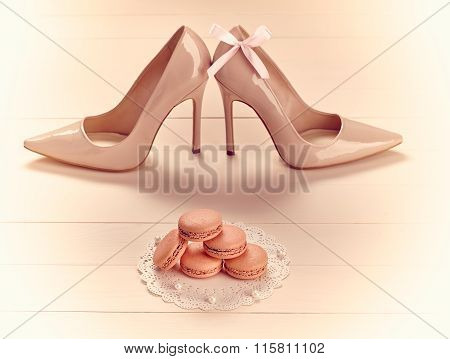 Woman essentials, fashion high heels, macarons