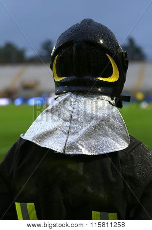 Fireman With Hardhat During The Sports Event At The Stadium