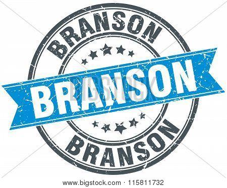 Branson blue round grunge vintage ribbon stamp