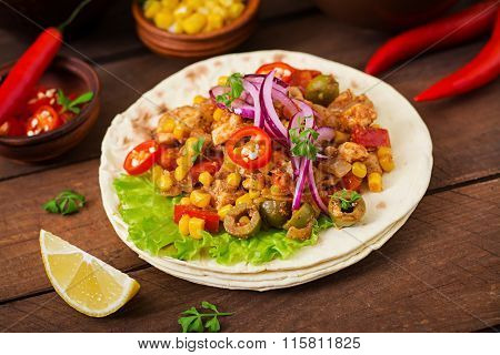 Mexican Tacos With Meat, Corn And Olives On Wooden Background.