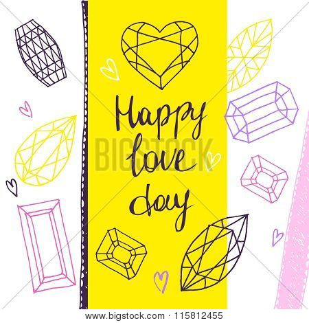 Happy Love Day.vector Geometric Hand Drawn Illustration Of Facet
