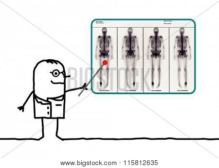 cartoon man radiologist showing a result of scintigraphy