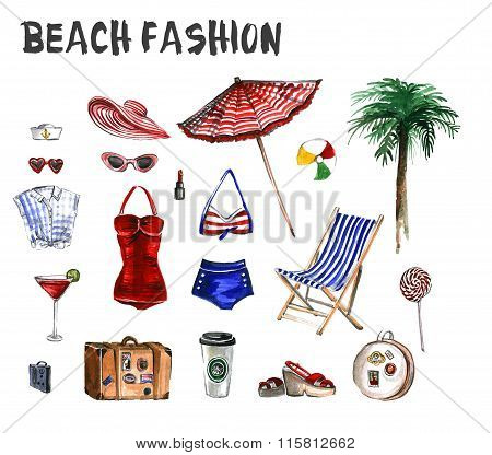 Watercolor set of beach fashion icons