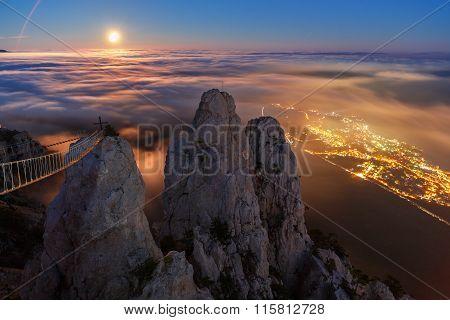 Moonrise over the mountain in Crimea