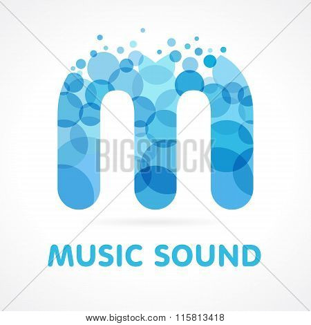 Music sound blue M logo