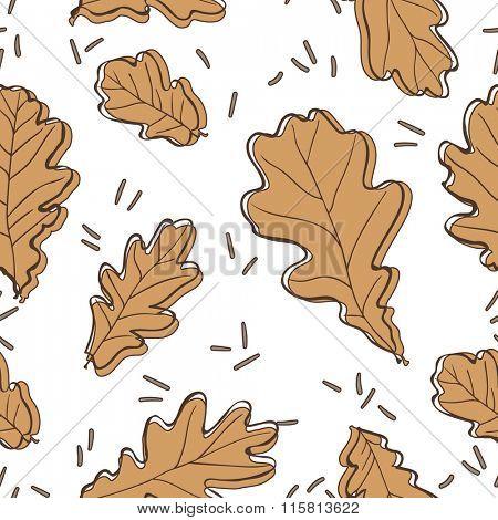 Oak leaves seamless pattern. Vector Illustration.