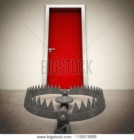 red door and metal bear trap