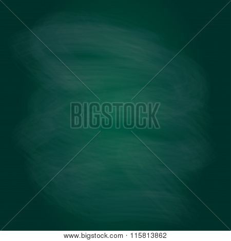 Blackboard texture or background. Chalk rubbed out on green blackboard. Vector blank chalkboard.