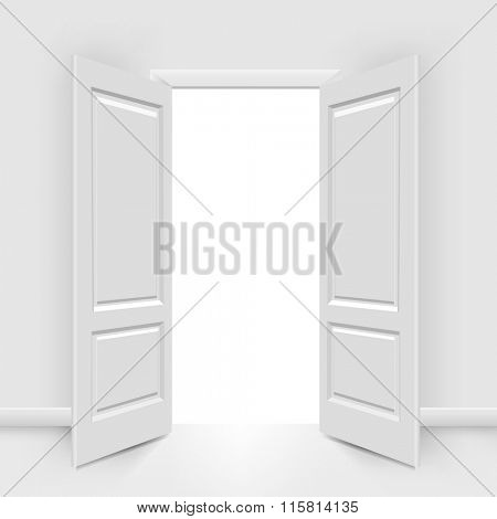 Opened Doors With Gradient Mesh, Vector Illustration