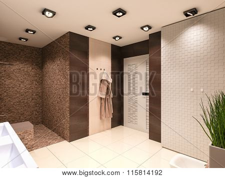 3D Illustration Of The Bathroom In Brown Tones
