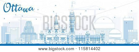 Outline Ottawa Skyline with Blue Buildings. Vector Illustration. Business travel and tourism concept with modern buildings. Image for presentation, banner, placard and web site.