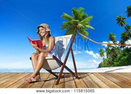Woman Relaxation Reading Book Beach Concept