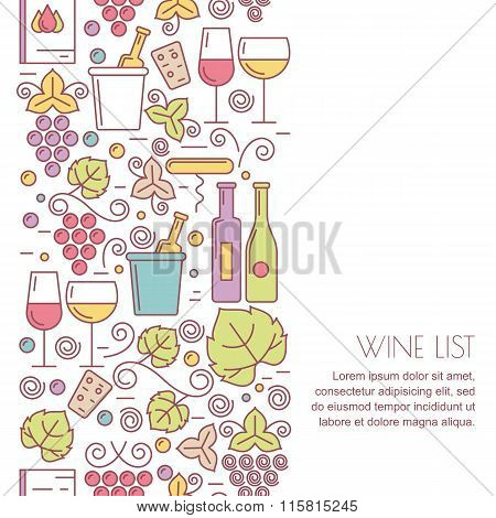 Vector Seamless Vertical Background With Linear Wine Bottle, Glass, Grape Vine, Leaf Icons. Food And