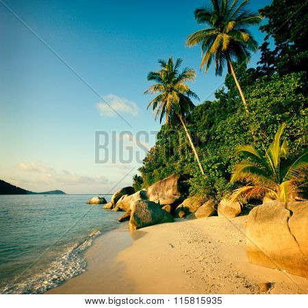Malaysian Beach Seascape Summer Nature Travel Concept