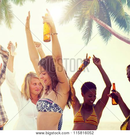 Group of Cheerful People Partying on a Beach Concept