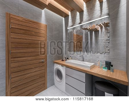 3D Visualization Of A Bathroom In A Gray Stone And A Mosaic