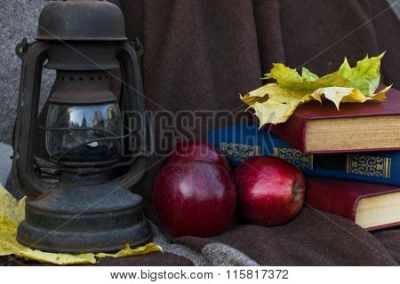 Still Life An Oil Lamp, Apple And The Book Against A Brown Drapery