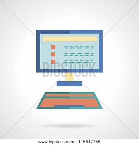 E-learning flat vector icon. Online education