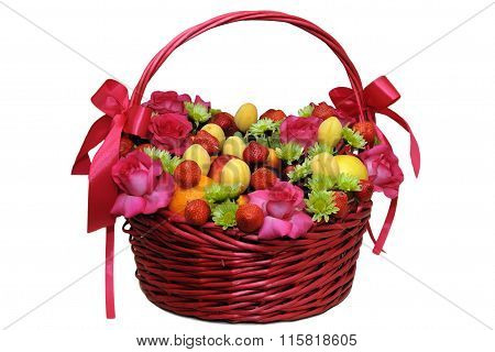 Mix of fruits and berries in a wicker basket.