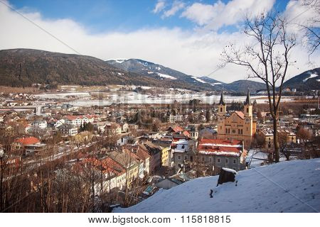 Panorama Of Brunico Town, Italy