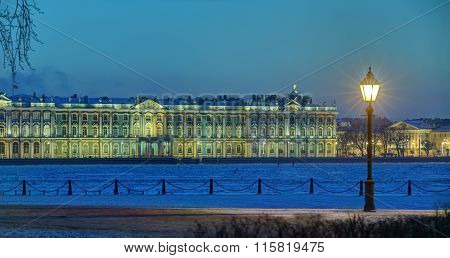 Building Hermitage Museum Of Saint Petersburg, Russia Winter Evening.