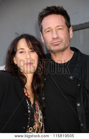 LOS ANGELES - JAN 25:  Maggie Wheeler, David Duchovny at the David Duchovny Hollywood Walk of Fame Star Ceremony at the Fox Theater on January 25, 2016 in Los Angeles, CA