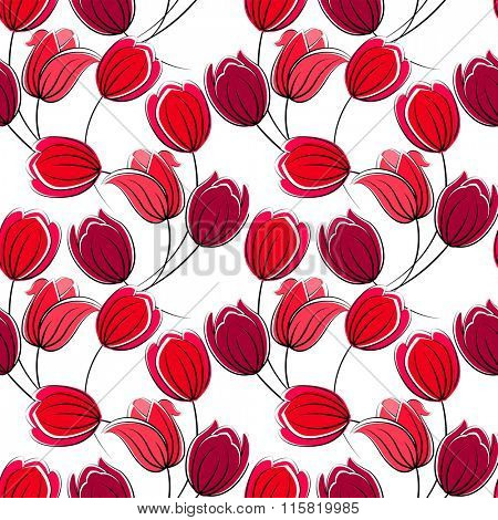Seamless floral pattern with stylized tulips.  Red color. Endless texture for your design, romantic greeting cards, announcements, fabrics.