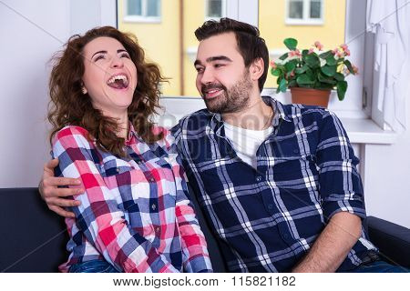 Funny Laughing Woman With Her Boyfriend
