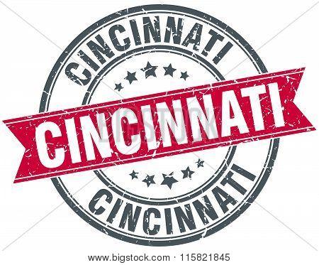 Cincinnati red round grunge vintage ribbon stamp