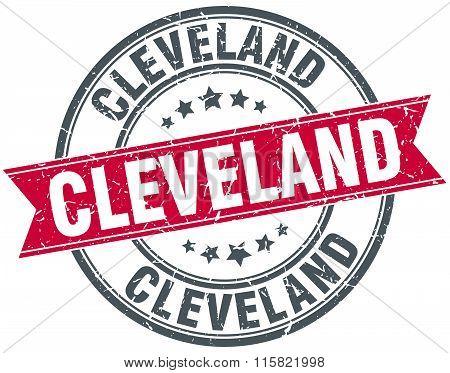 Cleveland red round grunge vintage ribbon stamp
