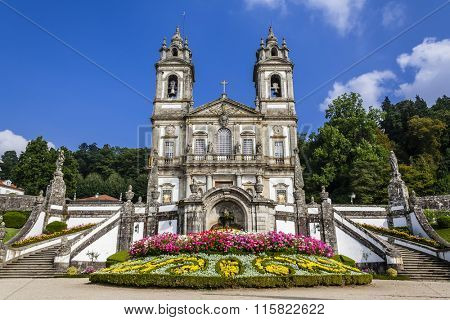 Braga, Portugal - October 6, 2015: Bom Jesus do Monte Sanctuary. One of the most famous Portuguese sanctuaries and city landmark. Baroque architecture.