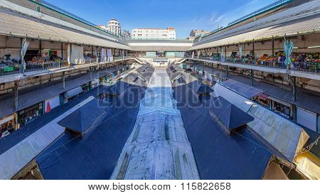 Porto, Portugal. December 29, 2014: Interior of the historical Bolhao Market, with fresh food for sale