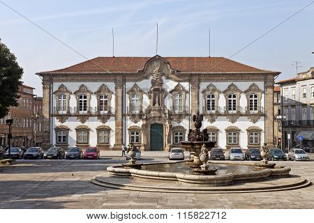Braga, Portugal - July 27, 2015: Braga City Hall building. One of the best examples of Baroque architecture in the Iberian Peninsula. 18th century.