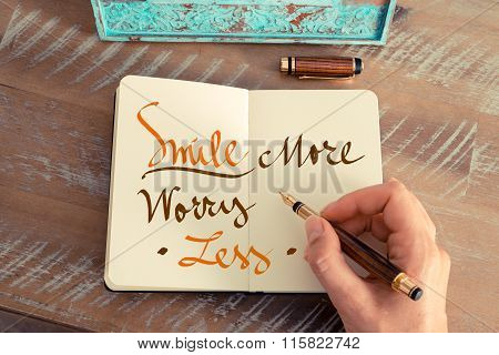 Handwritten Text Smile More Worry Less