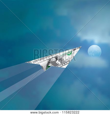 paper plane of one dollar fly in cloudy moonlight sky, abstract vector illustration