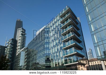 MILAN, ITALY - NOVEMBER 6, 2015: Solaria Tower designed by the Arquitectonica and the Diamantini Building in the Porta Nuova district in Milan, Lombardy, Italy.